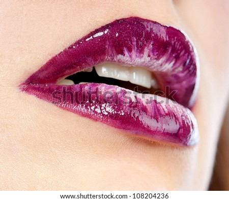 close-up body part portrait of beautiful woman's lips bright  make up - stock photo