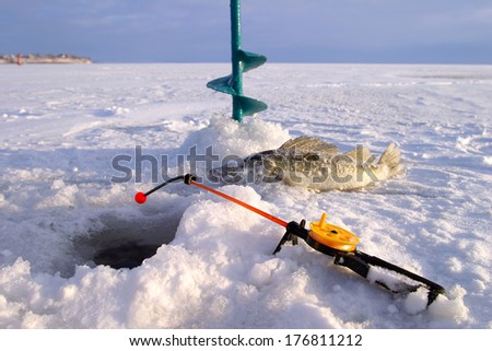 close-up boer, fishing rod and fish around the ice-hole on the winter river in a sunny day - stock photo