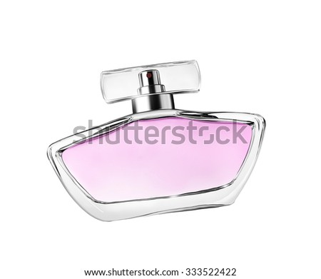 close-up bottle of perfume isolated on white - stock photo