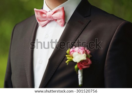 Close-up bow tie of the groom