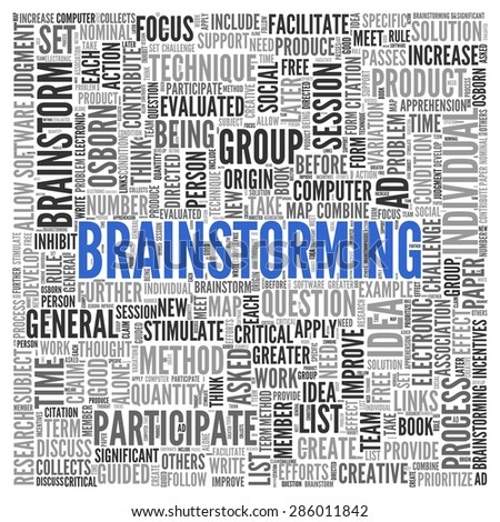 Close up BRAINSTORMING Text at the Center of Word Tag Cloud on White Background.
