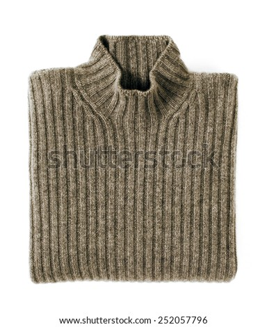 Close up Brown Folded Cashmere Turtle Neck Sweater Isolated on White Background.