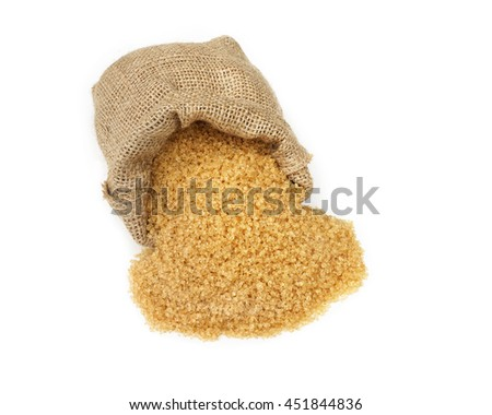 Close up brown Sugar  in a sack bag on white background.