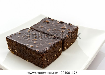 Close up Brownie cake on white background  - stock photo