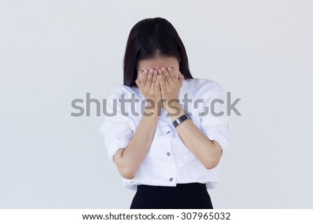 close up  business woman feeling serious with her job  at outside office : woman feeling serious, thoughtful and stress, business woman concept,medical concept.  - stock photo