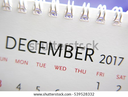 Close up calendar of December 2017