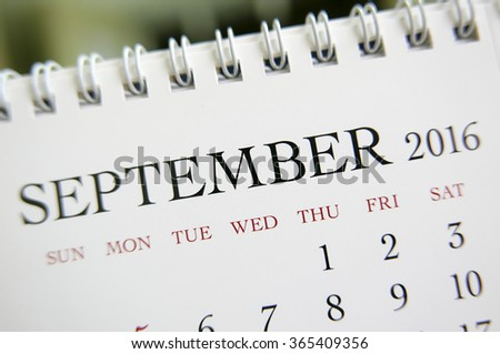 Close up calendar of September 2016 - stock photo