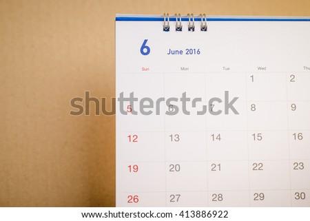 Close up  calendar page June 2016 - stock photo