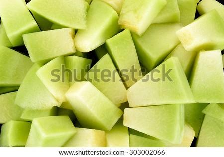 Close up cantaloupe melon background texture . - stock photo