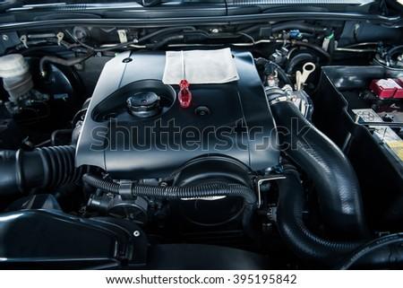 Close up car engine - stock photo