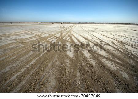 Close-up car tracks on big flat beach sky blue - stock photo