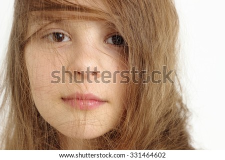 Close up caucasian little girl portrait - stock photo