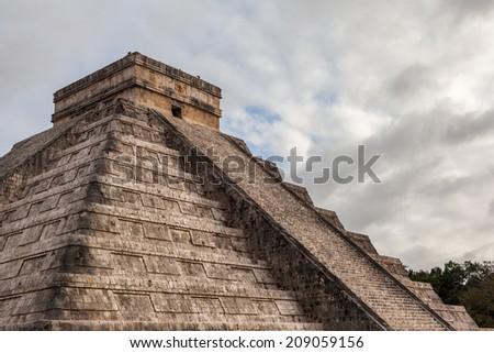 Close up Chichen Itza, Mayan Pyramid, Yucatan, Mexico. - stock photo