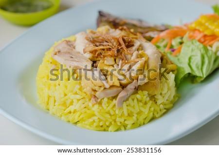 close up Chicken Biryani with green chutney - stock photo