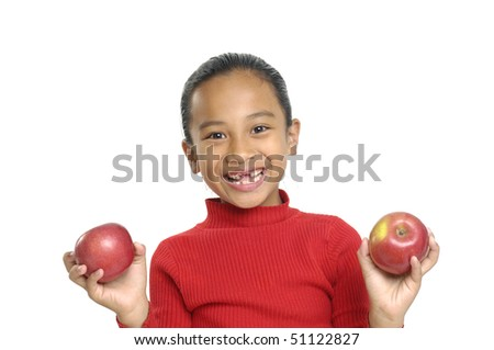 Close up child with apple - stock photo