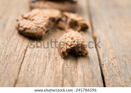 Close up chocolate chip cookies on wood table