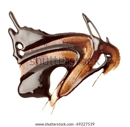 close up chocolate syrup stains on white background - stock photo