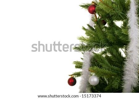 close up christmas tree isolated in white background