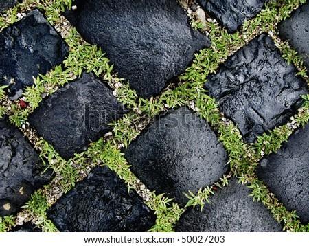 close up cobble road - stock photo