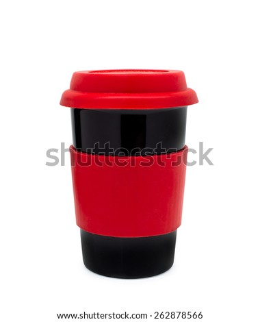 Close up coffee cup of drink with lid on white background - stock photo