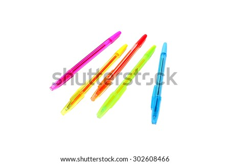 Close up color pens on white background - stock photo