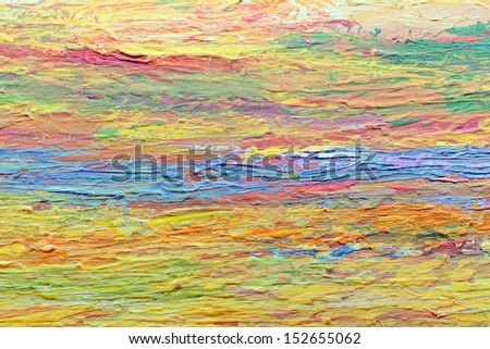 Close up colorful acrylic color painted on canvas - stock photo
