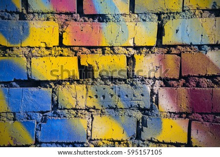 Closeup Colorful Brick Wall Background Texture Stock Photo (Royalty ...