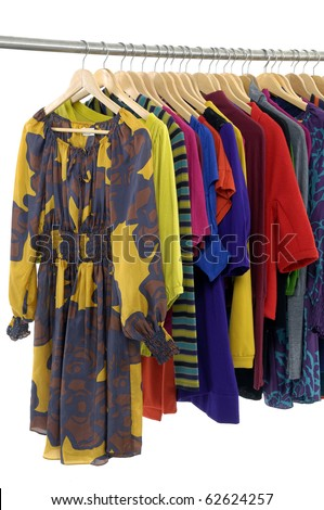 Close up colorful clothing rack - stock photo