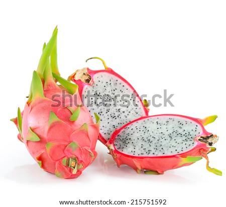 Close up colorful fresh Pitaya, dragon fruit Hylocercus undatus fruit slices sweet food bright isolated on white background. This has clipping path.   - stock photo