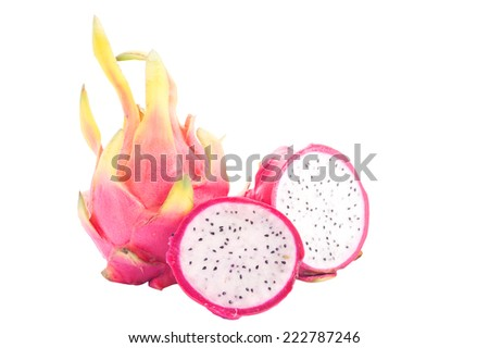 Close up colorful fresh Pitaya, dragon fruit Hylocercus undatus fruit slices sweet food bright isolated on white background. This has clipping path.  - stock photo