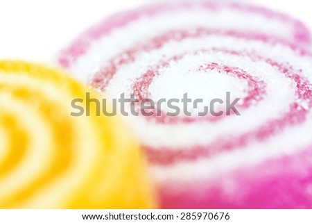 Close-up colorful fruit jelly candy for soft background - stock photo