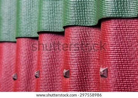 Close Up Colorful Samples Of Corrugated Roofing