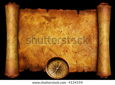 Close up compass on the old paper background - stock photo