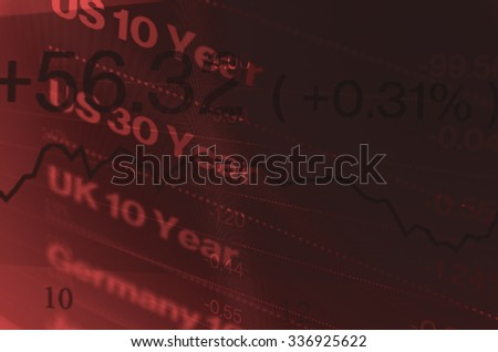 Close-up computer monitor with trading software. Multiple exposure photography.