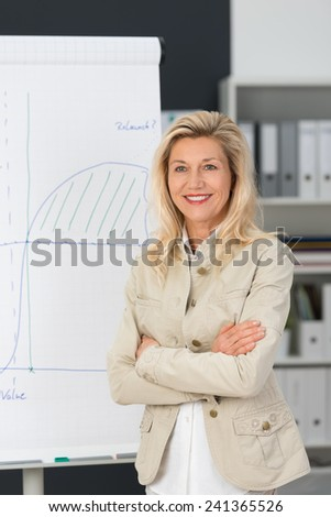 Close up Confident Smiling Adult Corporate Woman Standing Beside the White Board with Graph Drawing at her Office. - stock photo