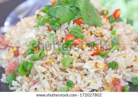 Close up coriander on fried rice./Fried Rice. - stock photo