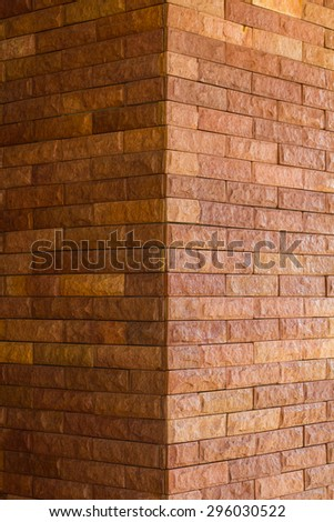 Close up corner of a brick wall Brown seamless, which is found mainly in the quaint temple. - stock photo