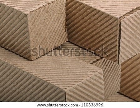 close-up corrugated cardboards boxes - stock photo