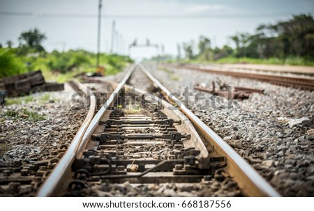 Close up crossing of two railroad. vintage. railroad switch