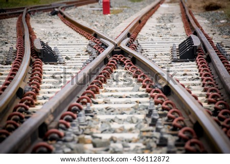 Close up Crossroad Railway or junction Railroad  - stock photo