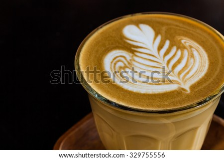 Close up cup of cappuccino or latte coffee. - stock photo