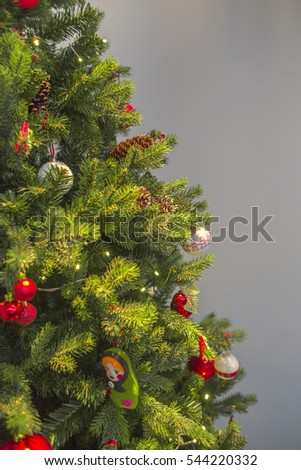 Close Up Decorated Christmas Tree with Empty Space