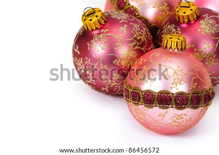 Close up decorative Christmas balls on white background. - stock photo