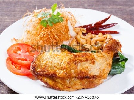 Close up deep fried chicken with lemon grass herb