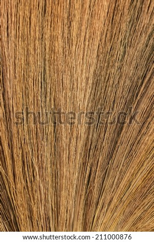 Close up detail of a broom texture. Grunge texture of dry grass - stock photo