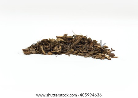 Close Up Detail of a Pile of Aged Pine Bark and Coconut Fiber Soil Isolated on White Background - stock photo