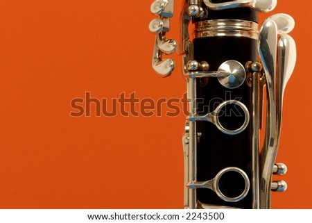 close up detail of a woodwind clarinet - stock photo