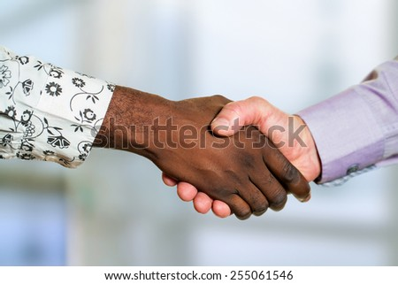Close up detail of diverse male business handshake. - stock photo
