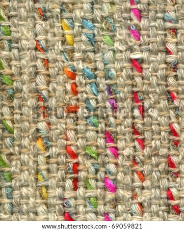Close up detail of handwoven woolen fabric - stock photo