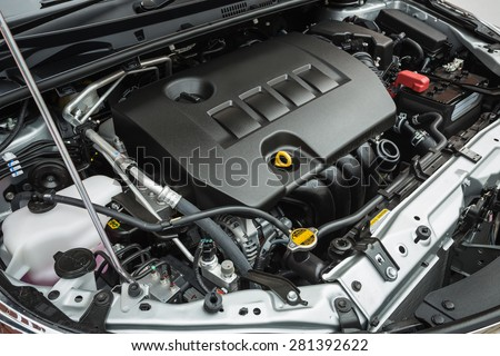 Close up detail of new car engine - stock photo